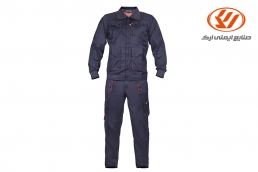 Men's workwear with twill fabric - Navy blue-Orange